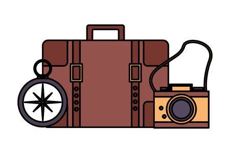 travel suitcase camera compass equipment vector illustration