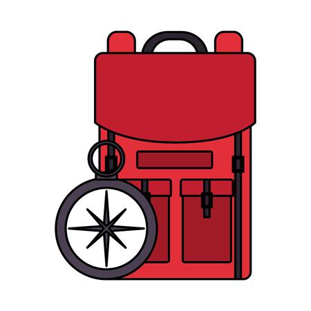backpack compass navigation travel equipment vector illustration