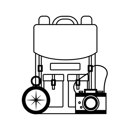 travel backpack camera compass equipment vector illustration 向量圖像