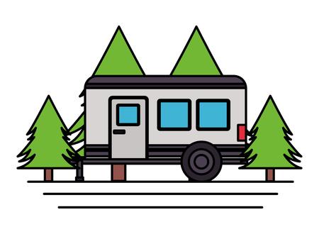 camper trailer trees pine scene vector illustration Ilustracja