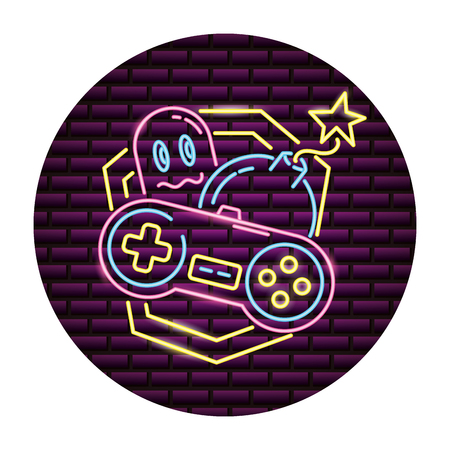 ghost control boom video game neon vector illustration