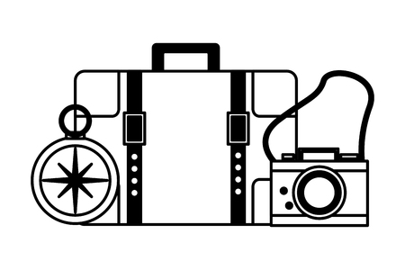 travel suitcase camera compass equipment vector illustration