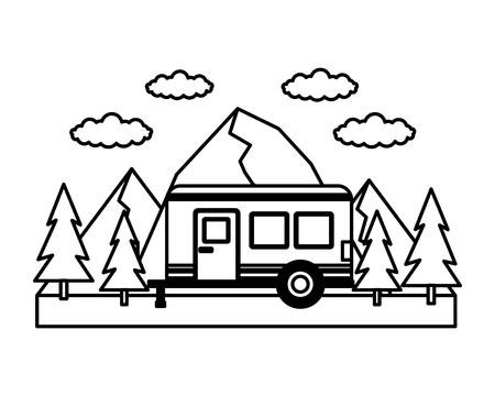 camper trailer mountains trees outdoors vector illustration Illustration