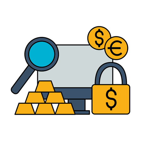 computer security gold bars dollar euro stock market vector illustration