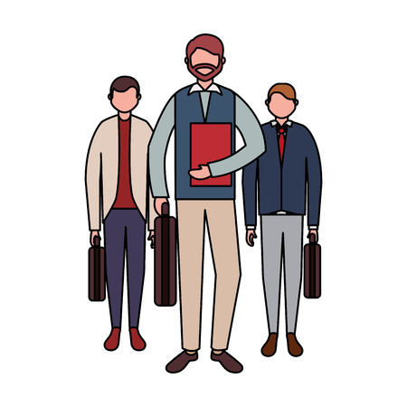businessmen team group with business briefcase vector illustration