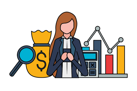business woman with cellphone money bag chart stock market vector illustration Banque d'images - 125288171