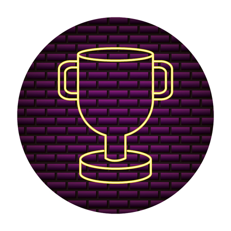 trophy award sign neon light vector illustration
