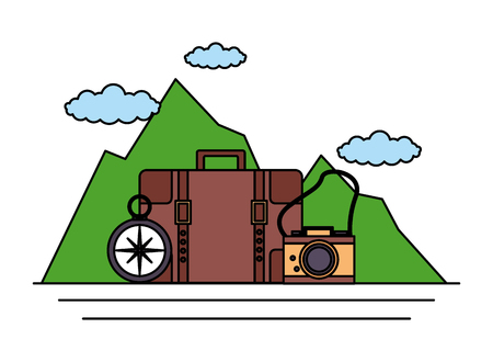 camping suitcase camera compass mountains vector illustration  イラスト・ベクター素材