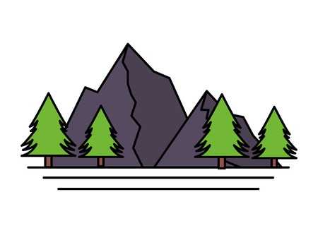 mountains tree pine nature landscape vector illustration Stock Vector - 125288174