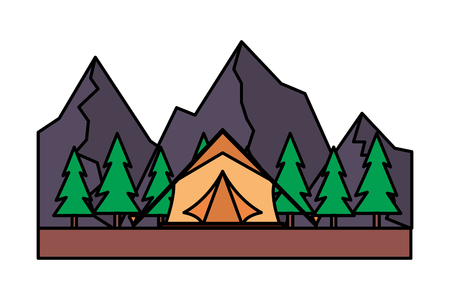 tent camping trees and mountains vector illustration