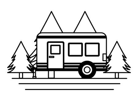 camper trailer trees pine scene vector illustration Illustration
