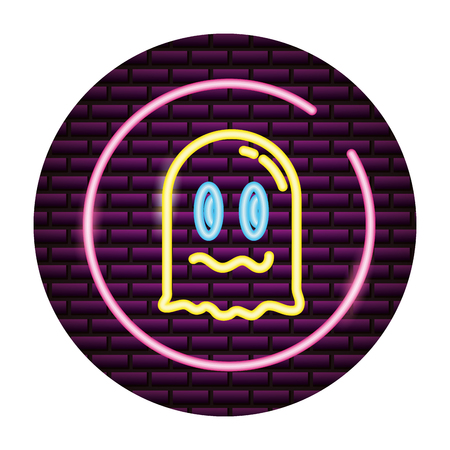 ghost avatar video game neon vector illustration