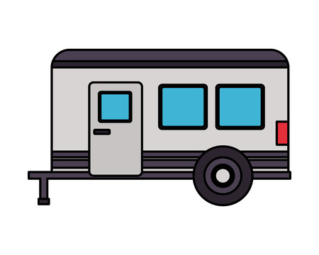 camper trailer transport on white background vector illustration