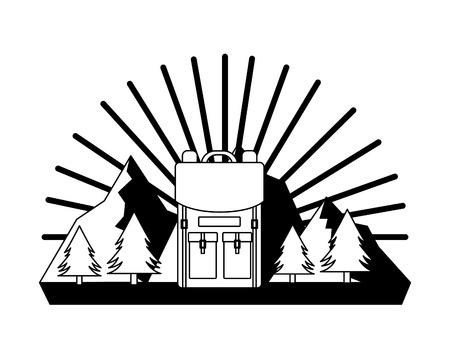 backpack mountains trees pine landscape vector illustration Illustration