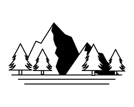 mountains tree pine nature landscape vector illustration Иллюстрация
