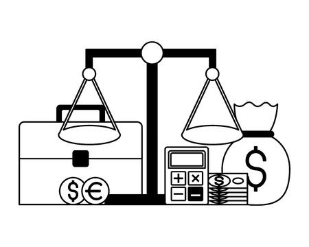 briefcase balance money bag coins stock market vector illustration Çizim