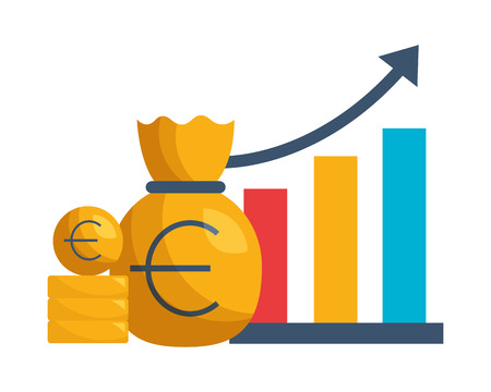 euro money bag chart stock market vector illustration