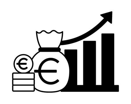 euro money bag chart stock market vector illustration Foto de archivo - 125288191