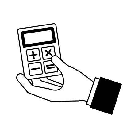 hand holding business calculator financial vector illustration