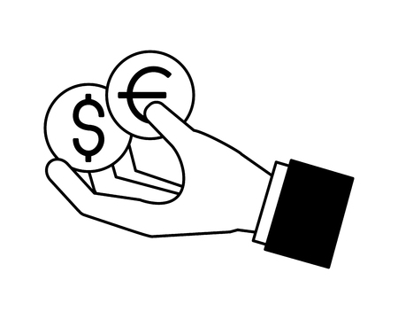 hand holding coins dollar and euro vector illustration Ilustrace