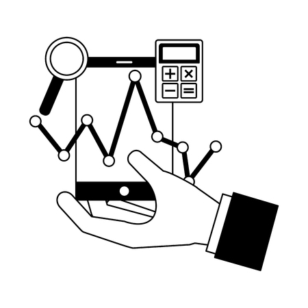 hand holding mobile calculator chart vector illustration