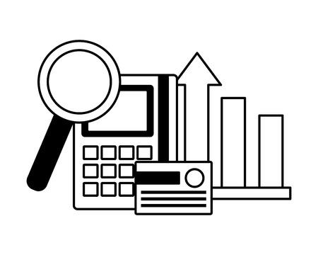 bank card calculator chart analysis stock market vector illustration Illustration