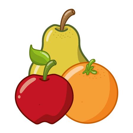pear apple orange fruits on white background vector illustration Illustration