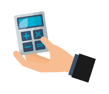 hand holding business calculator financial vector illustration