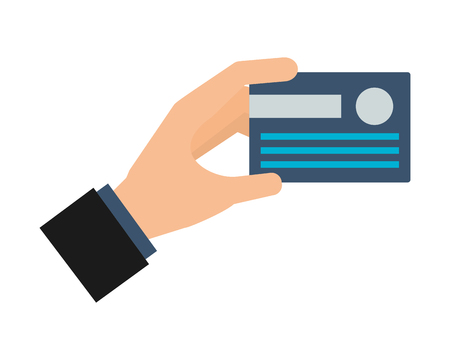 hand holding bank credit card vector illustration