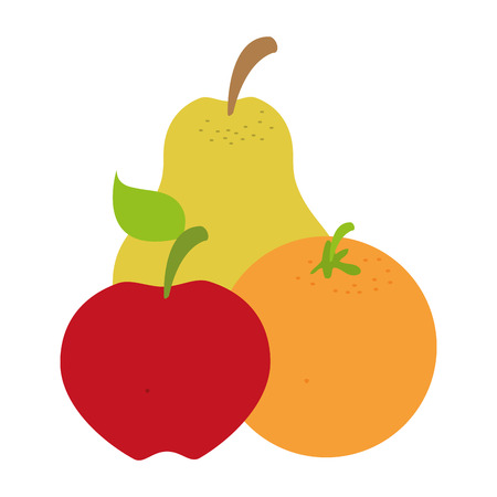 pear apple orange fruits on white background vector illustration Ilustracja