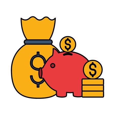 money bag piggy bank dollar coins stock market vector illustration