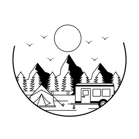 tent camper trailer camping wanderlust vector illustration