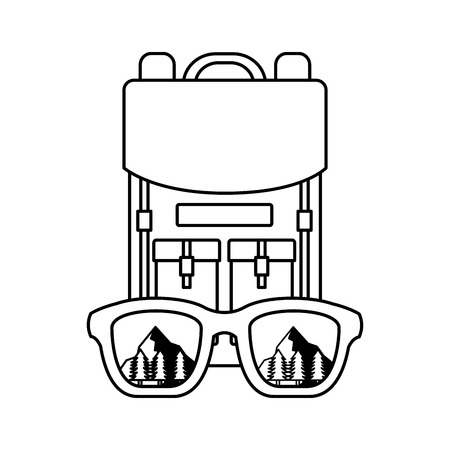 backpack eyeglasses landscape camping wanderlust vector illustration  イラスト・ベクター素材