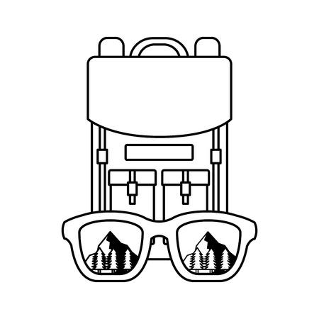 backpack eyeglasses landscape camping wanderlust vector illustration Illustration
