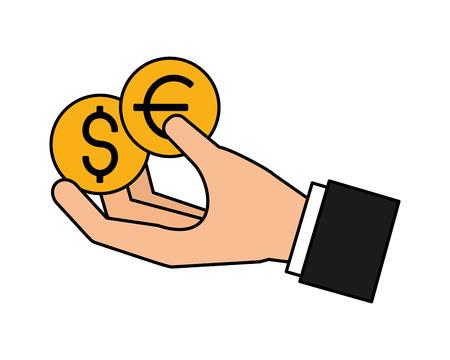 hand holding coins dollar and euro vector illustration Ilustração
