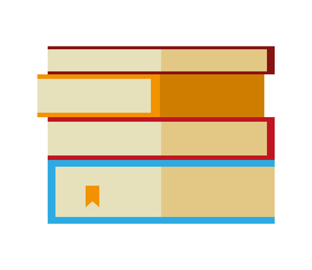 stacked books literature on white background vector illustration
