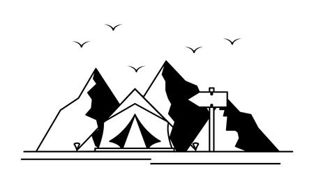 mountains tent camping wanderlust scene vector illustration