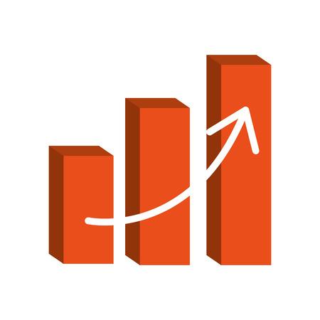 financial chart bars arrow on white background vector illustration Illustration