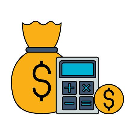money bag calculator coin stock market vector illustration Illustration