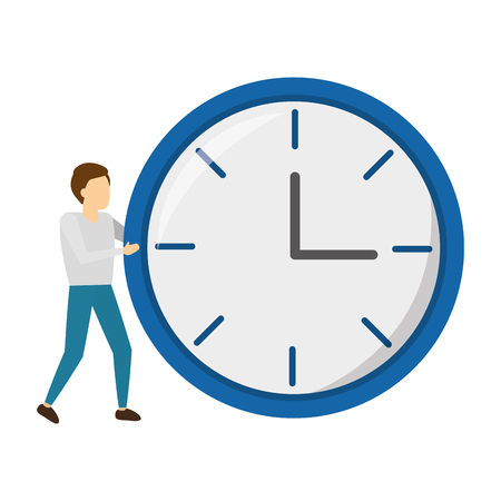businessman with round clock time vector illustration Illustration