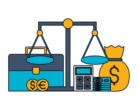 briefcase balance money bag coins stock market vector illustration Illustration