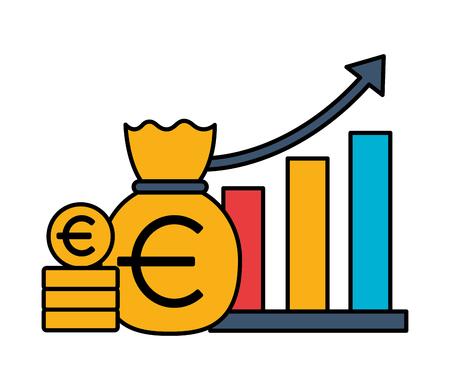 euro money bag chart stock market vector illustration Foto de archivo - 125288285