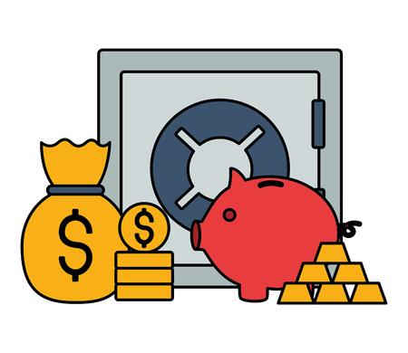 safe box piggy gold bars and money stock market vector illustration