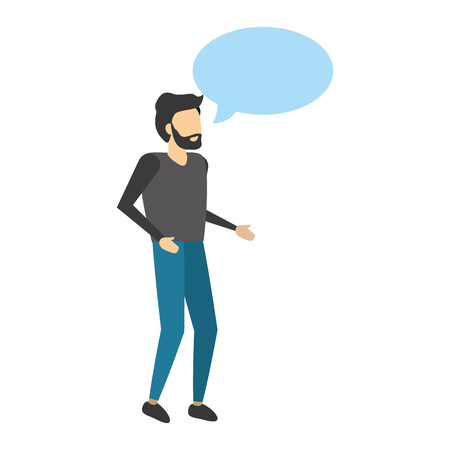 man standing with speech bubble vector illustration Ilustrace