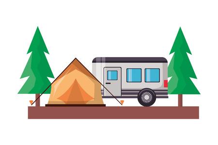 tent camper trailer trees camping wanderlust vector illustration