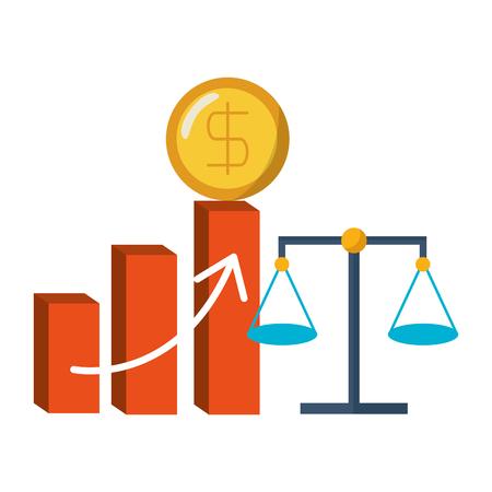 financial diagram coin and balance vector illustration
