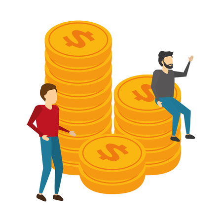 business men and stacked coin money vector illustration Reklamní fotografie - 125288298
