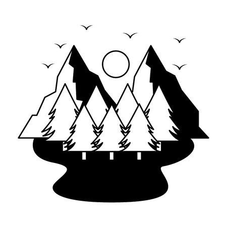 mountains trees camping wanderlust scene vector illustration
