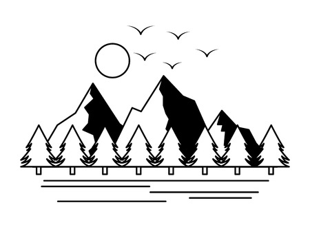 mountains trees camping wanderlust scene vector illustration