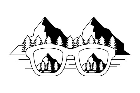 eyeglasses reflection mountains landscape image vector illustration